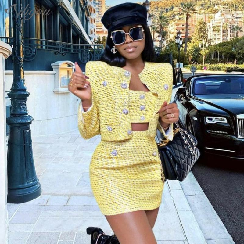 Ailigou Sommer Mode Dame Rhinestone Button Pailletten Woolen Langarm Jacke + Sling Rock 3-teilig Sexy Bankettsatz Zwei Stück Kleid