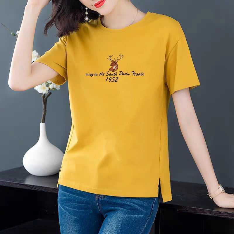 T-shirt à manches courtes Femmes 2021 Été Nouveau grand gros gras MM Imprimer coréen Polyatile Femmes