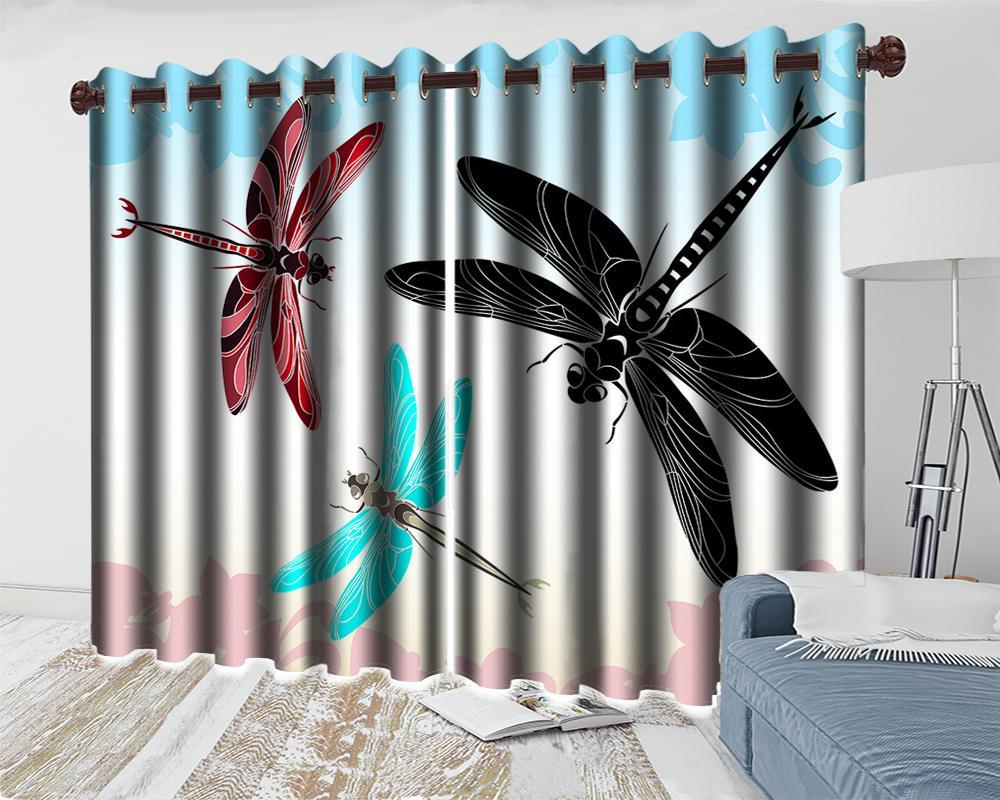 Flying Libélula 3D Animal Moderno Cortina Home Melhoria da Casa Quarto Cozinha Pintura Mural Blackout Cortinas