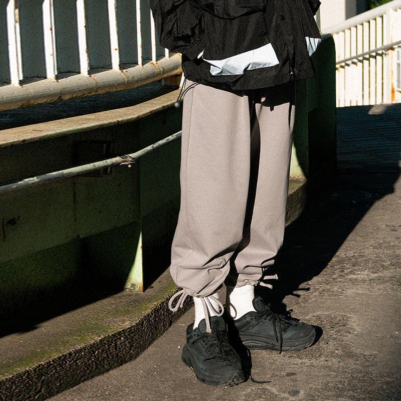 남자 느슨한 캐주얼 와이드 레그 스트레이트 바지 남성 streetwear 힙합 Drawstring 밑단 Harem 바지 조깅 스웨트 팬츠 남자
