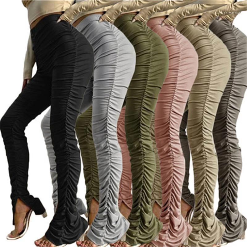 عارضة سليم sweatpant إمرأة كومة من السراويل الأزياء الاتجاه الصلبة اللون عالية الخصر مطوي سراويل نحيل الربيع الإناث مستقيم سبليت