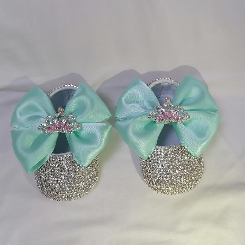 Acqua fatta a mano Blu corona di lusso Strass di lusso Baby Girl Scarpe First Walker Sparkle Bling Crystals Princess Doccia Doccia Gift Walkers