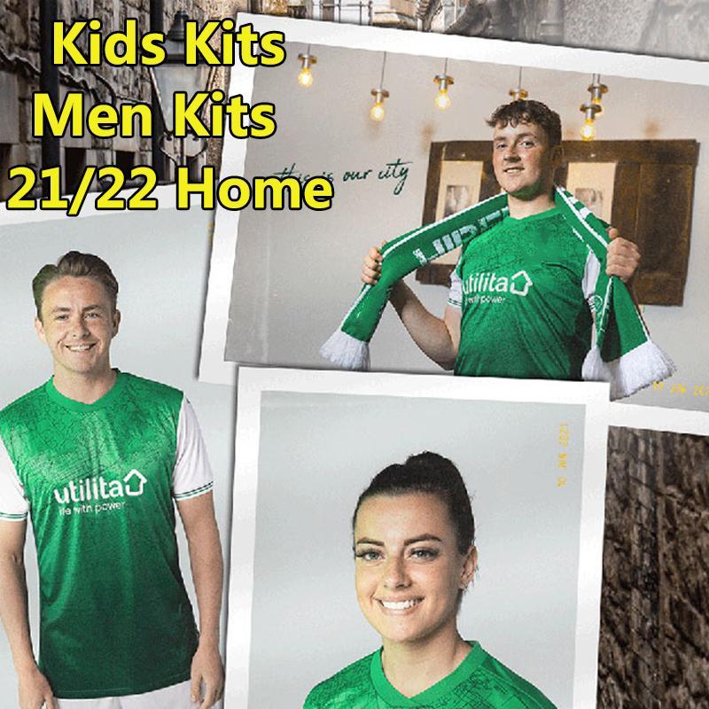 2021 2022 Jerseys de futebol Hibernian Home Homens Verdes Kits Kits Futebol Camisas Hanlon McGinn Doidge Newell Boyle Nisbet Stevenson Hallberg Jersey 21/22
