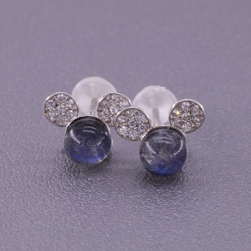 Argento Semplice Geometrico Squisito Blu Blue Moonstone Gioielli Piccoli orecchini per le donne regalo di nozze