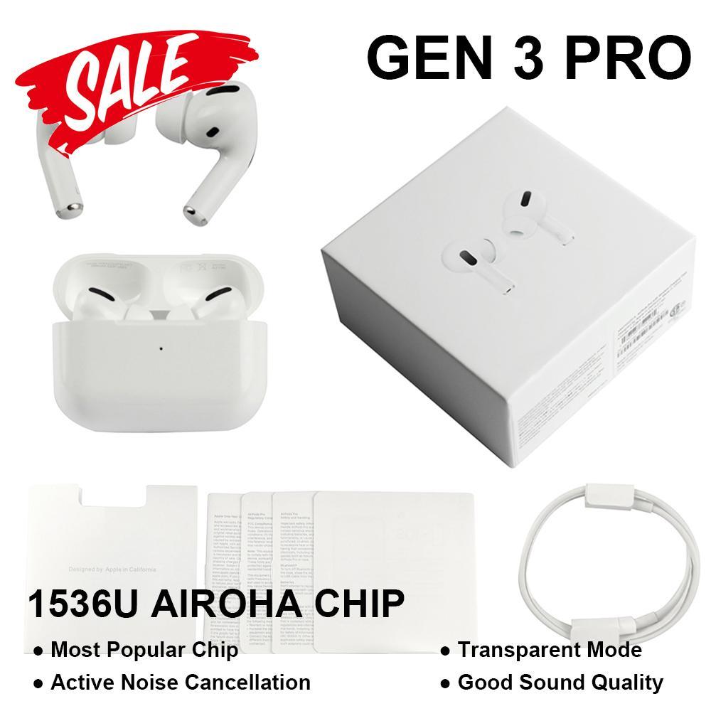 GEN 3 AP3 공기 포드 프로 무선 TWS 이어폰 소음 제거 상자와 충전 상자 이름 바꾸기 GPS 블루투스 헤드폰 고품질 이어 버드