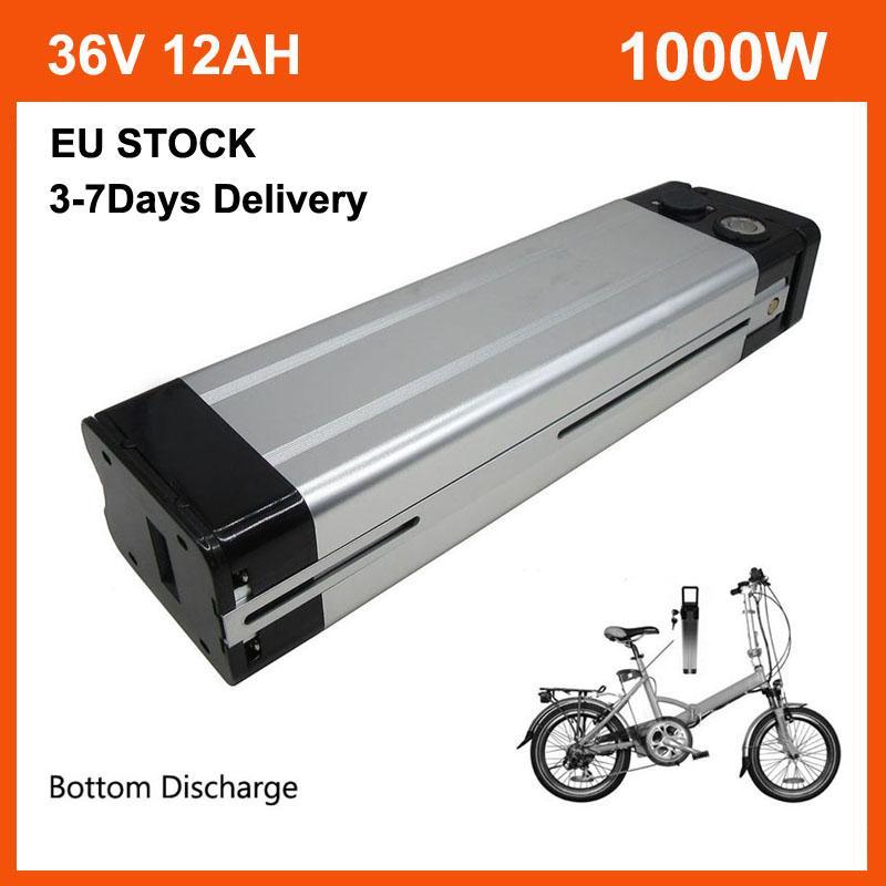 36 V 12AH Lityum Gümüş Balık Ebike Pil Paketi 500 W 36 V 13Ah Elektrikli Bisiklet Akü 42V 2A Şarj ve 15A BMS Alt Deşarj AB Stok