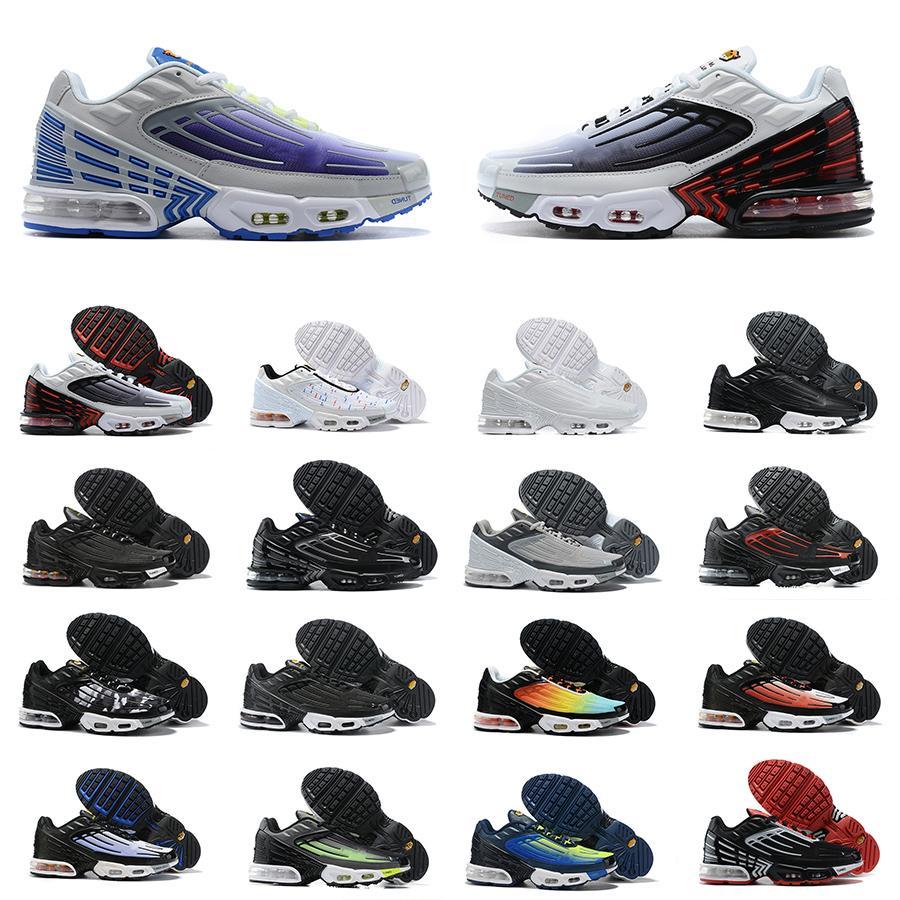 Nike Air Max Mens TN 3 PLUS SUNDED III Scarpe da corsa TN3 Trainer NOIR Triplo Black Wolf Grigio Blanche Bianco Blu Blue Nebula Sneakers Dimensioni 40-45