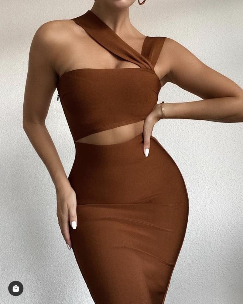Frauen Sommer Sexy Aushöhlen Braun Midi Knielange Bodycon Verband Kleid 2021 Designer Elegant Abend Party Vestido Casual Dresses
