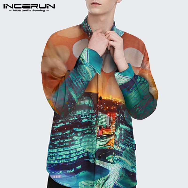 패션 플로랄 패치 워크 캐미사 느슨한 버튼 탑스 망 의류 남성 셔츠 캐주얼 인쇄 긴 소매 옷깃 블라우스 S-5XL 남자