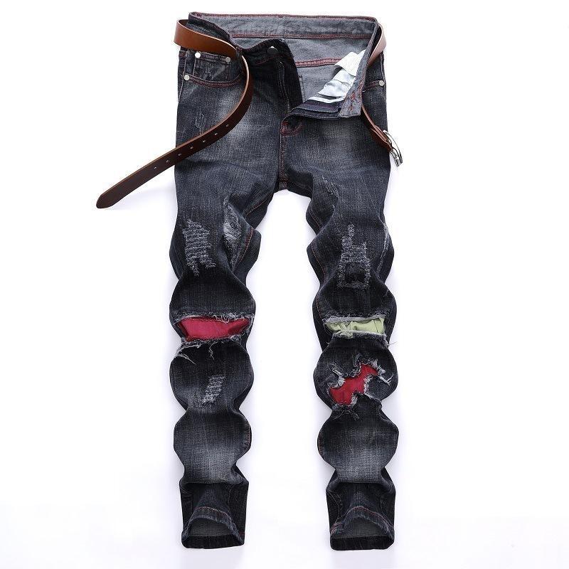 Erkek Kot Patchwork Delik Yırtık Denim Sıkıntılı Siyah Düz Moda Ağartılmış Erkek Retro Pileli Günlük Tarzı