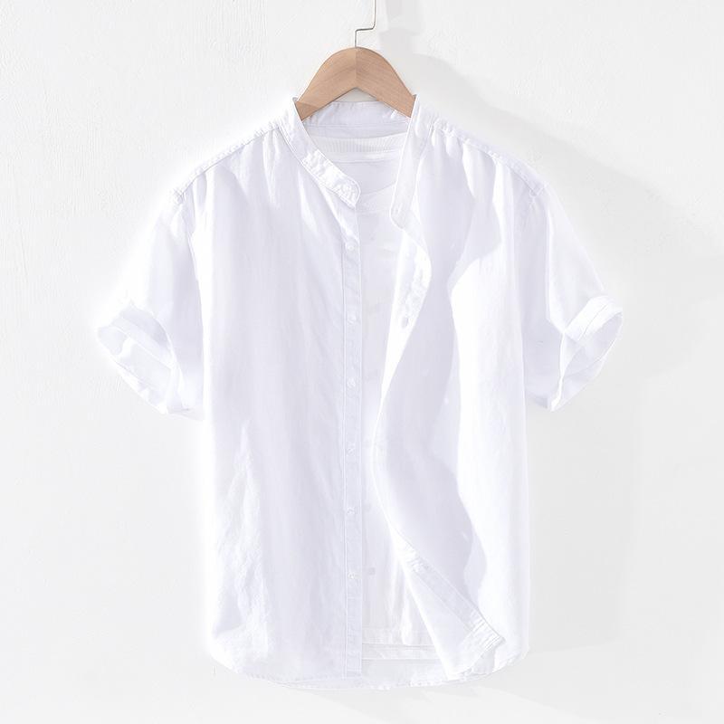 6007 Verão Fundação Solta Fina Manga Curta Carrinho Colarinho Camisa de Linho de Algodão