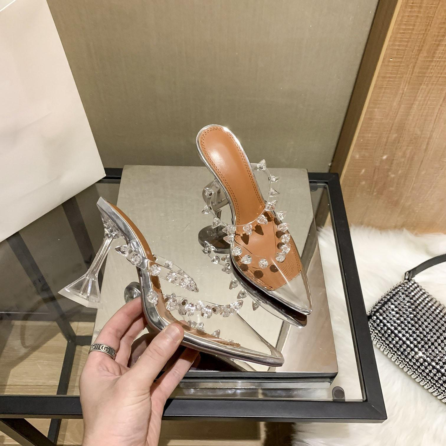 2021Cinderella transparent nail slipper made in Italy of delicate high-heeled shoes with high: flat, 7 cm and 9 cm