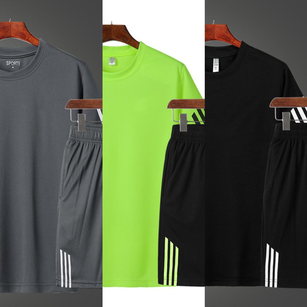 Mode gestreifte Schnelltrocknung Kurzarm T-Shirt Herren Kleidung Sommer 2 Stück Trainingsanzug Shorts Sets Fitness-Gym Casual Sportswears X0601