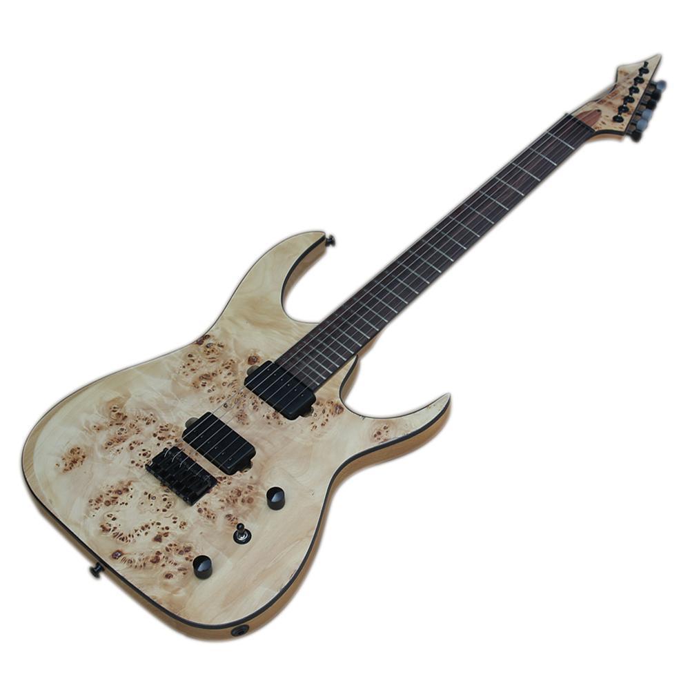 Guitarra eléctrica natural de Factory Outlet-6 Strings con chapa de grano de corteza, freteboard de palisandro, 24 trastes, color / logo personalizado disponible