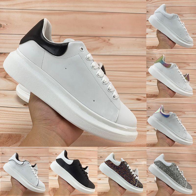 Sapatos casuais masculinos femininos reflexivos de alta qualidade triplo branco refletem preto multicolorido azul profundo prateado laser Sequin tênis masculino