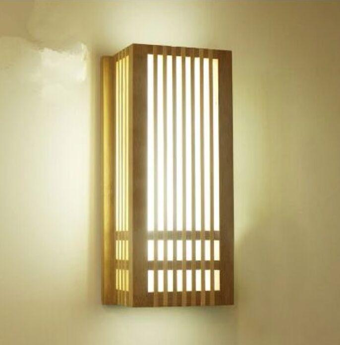 LED Natural Bambu Wall Sconce Lâmpada de Madeira Japão Estilo Iluminação Sala de estar Restaurante Café Quarto Salão Izakaya Light