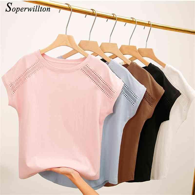 T-shirt fêmea As mulheres tops t-shirt do algodão do verão para mulheres cor-de-rosa branca preta mais tamanho tshirt Mulheres da luva curta camiseta 210322