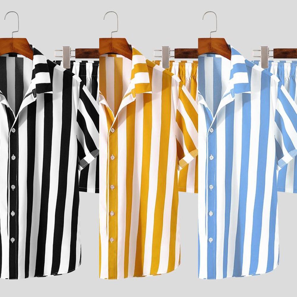 InfaRun 2021 Sommer Männer Gestreifte Sets Streetwear Revers Kurzarm Shirt Kordelzug Shorts Mode Lässige Männer Hawaiianer Anzüge 5XL x0601