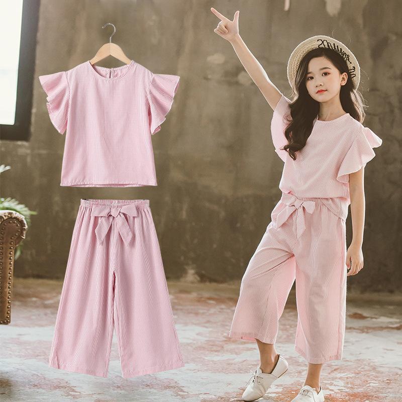 Traje para niños School School Chicas trajes de las tapas de la manga de la volante y pantalones de pierna ancha para niños coreanos rayas de rayas Set de ropa de 2 piezas para niños 12y