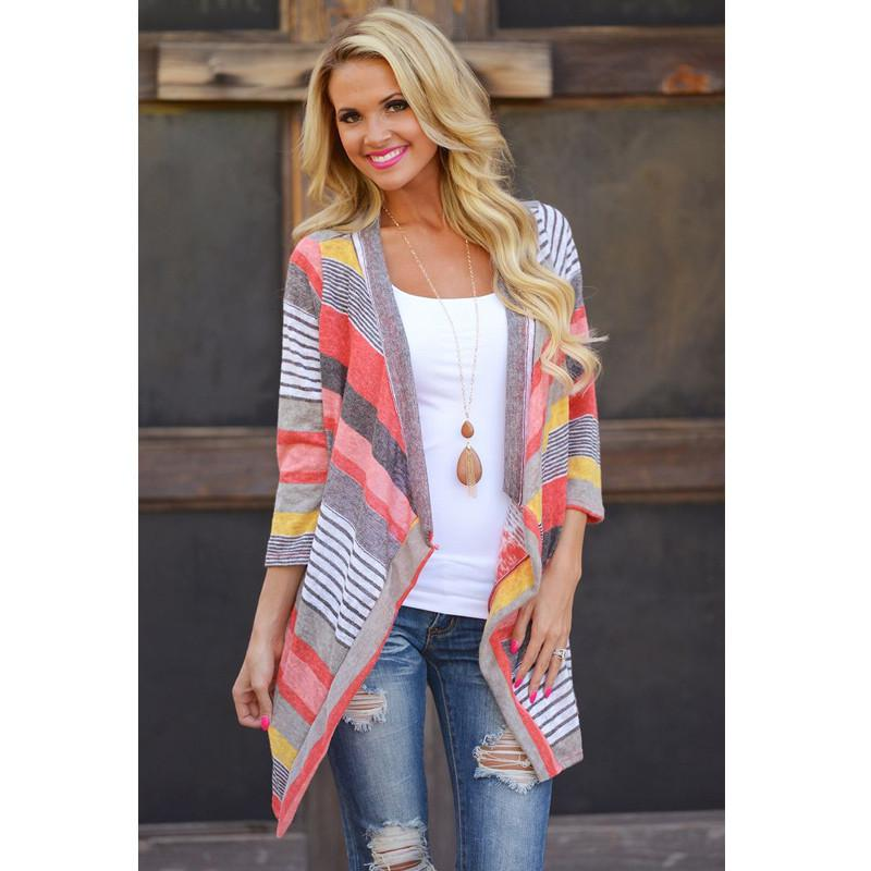 Autumn Colorful Stripes Stitching Three quarter Sleeve Thin Cardigan Sweater Womens Loose Cardigan Factory Outlet