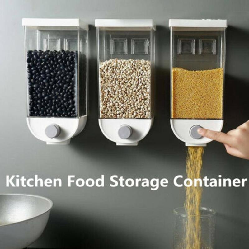 1000 / 1500ml Montado en pared Cereales Cereales Dispensador Grano Caja de almacenamiento Organizador de contenedor de secado para accesorios de cocina Herramientas