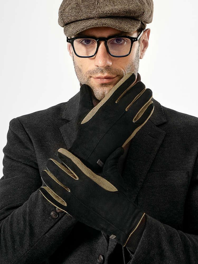 Guantes de hombre en otoño invierno, a prueba de frío cálido, peluche y espesas de algodón