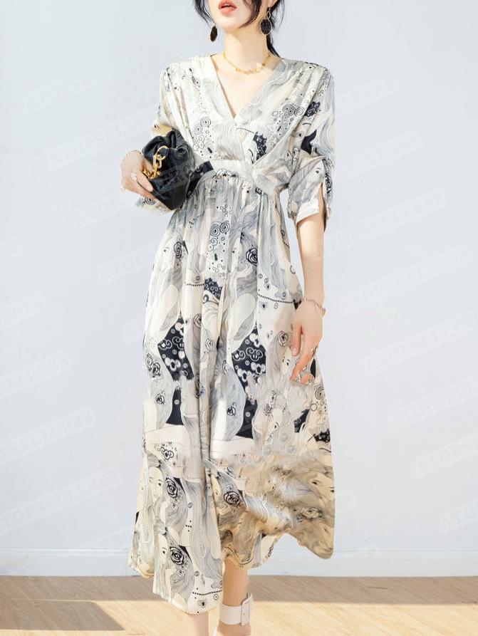 2021 Tasarımcı Elbise Fransız Retro Yağlıboya Stil V Yaka Şifon Beş Noktalı Kol A-Line Uzun Etek