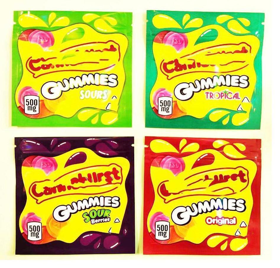 500mg Empty Cannaburst Gummies Sours Ca Packaging Mylar bag cherry blue raspberry watermelon strawberry flavor Gummy bags