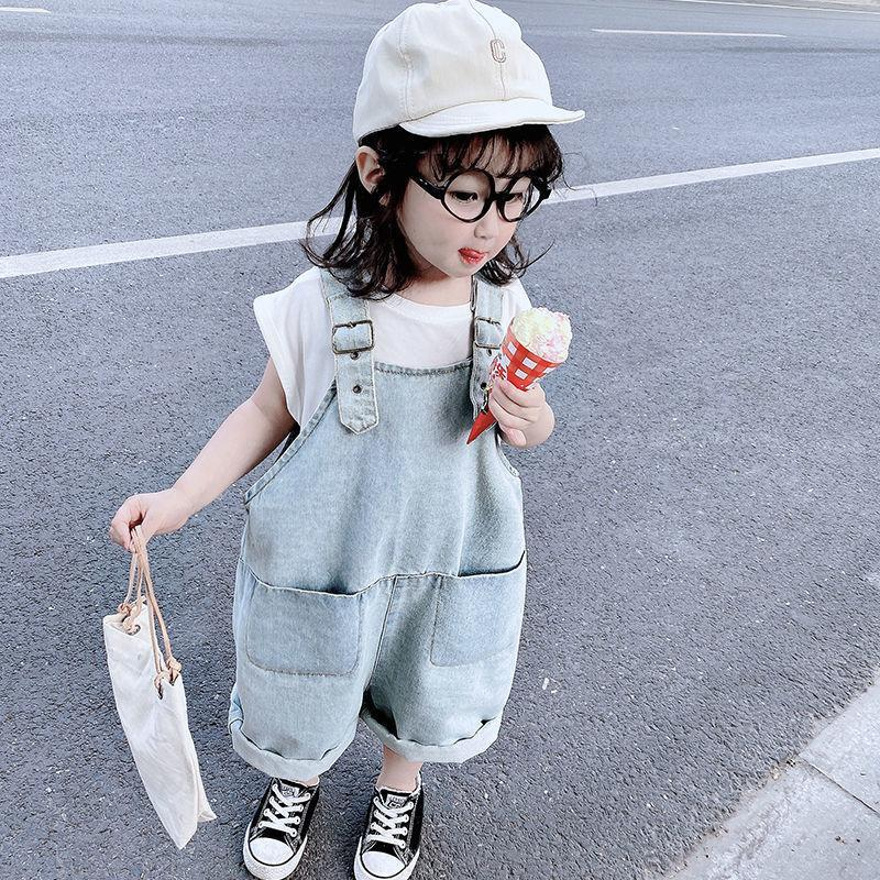 Baju Anak Perempuan Kids Clothes Clothing Children Suspenders Denim PantsT Shirt Summer 2021 T Two Piece Set Boys Girls Sets