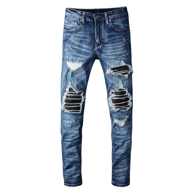 Moda Sıkıntılı Yırtık Biker Kot Slim Fit Motosiklet Denim Erkekler Için Tasarımcı Hip Hop Erkek Delikler Uzun Pantolon