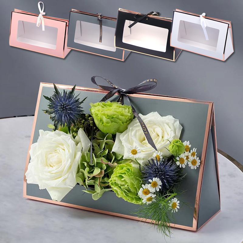 Kraft papier pliant boite de fleur creuse fleur de carton floral emballage cadeau portable sac de bagage