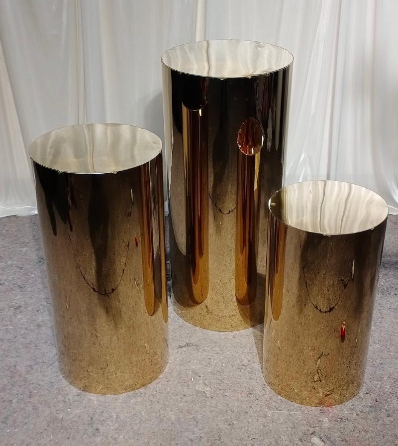3 pcs casamento shinny ouro rodada plinths cilindro pedests bolo stand backdrop Outros Bakeware