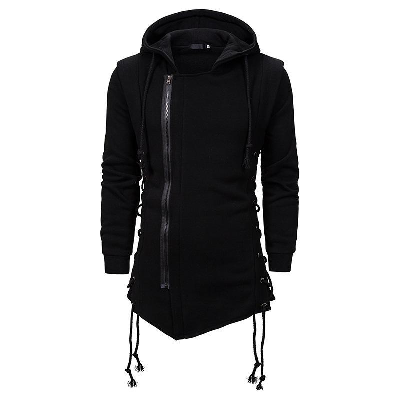 Männer Beiläufige Schwarze Hoodies Mode Seite Schnür Fleece Gothic Pullover Hip Hop Lange Länge Reißverschluss Poncho Cape Mantel Unregelmäßigen Saum Hoodie Männer Warme Sweatshirt Mantel