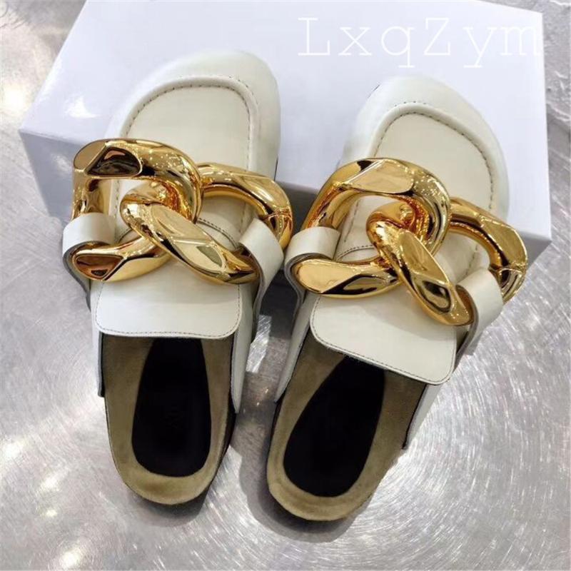 Or de la chaîne or décor rond muletier plat mockers paresseux chaussures chaussures en cuir véritable extérieur pour femmes