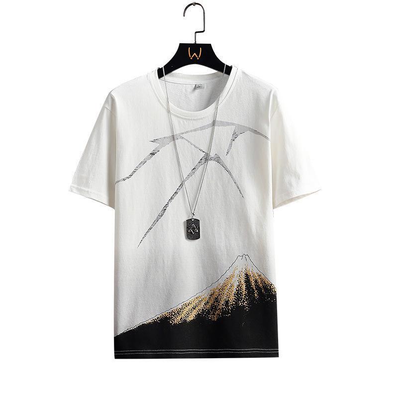 Moda Gençlik Rahat Gevşek T Gömlek Saf Pamuk Nefes Baskı Kısa Kollu Yuvarlak Boyun Gelgit Marka Yaz Erkek Giyim