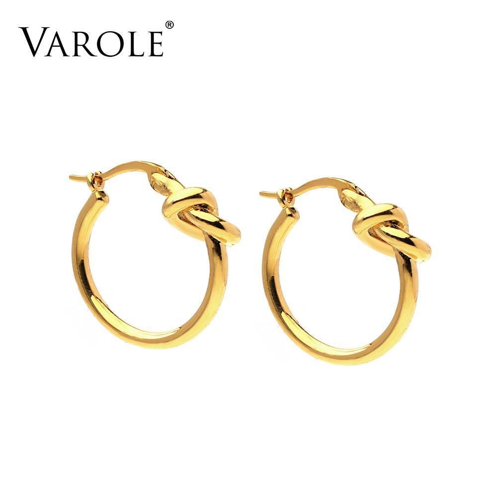 VAROLE Fashion Knot Hoop Earrings For Women Simple Line Gold Color Hoops Earings Fashion Jewelry Kolczyki