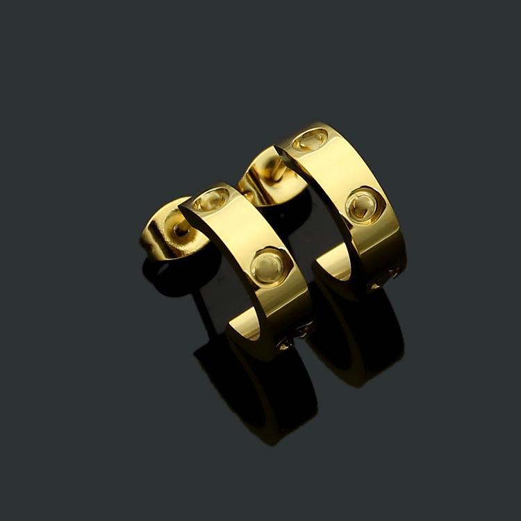 Orecchino in acciaio in titanio Orecchino in oro 18K oro gioielli donna squisita semplice moda c diamond lady love orecchini regalo