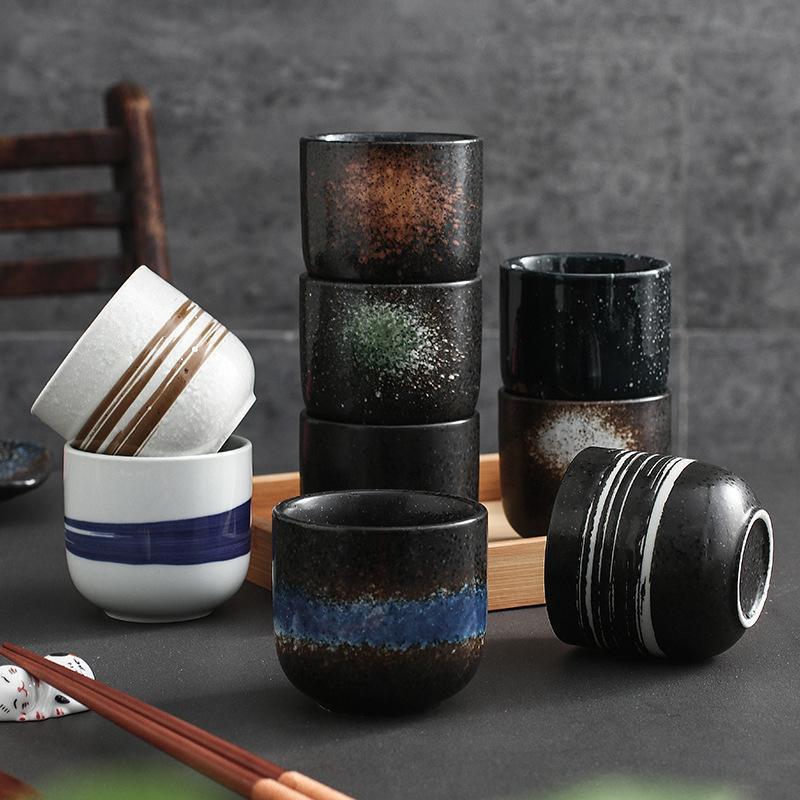 Японский стиль 200 мл кофе чашки кофе керамики кружки пива кружка виски стекла питьевая чашка керамическая латте специализированная