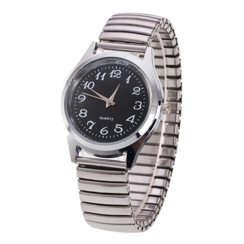 Montre-bracelet Hommes Quartz Montre En acier inoxydable En Alliage Amant Mouvement Business Mouvement Bracelet Elastic Strap Couple Couple Horaire