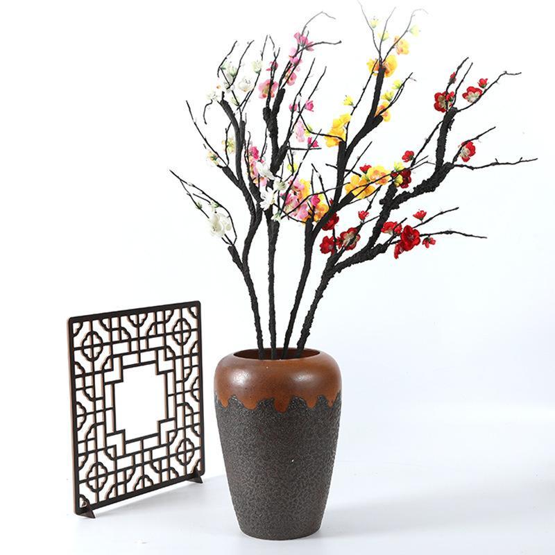 Guirnaldas de flores decorativas de lujo simulación de plum negro espumante efecto durazno flor vena guía de carretera hogar flores falsas chimonanthus chinensis rural