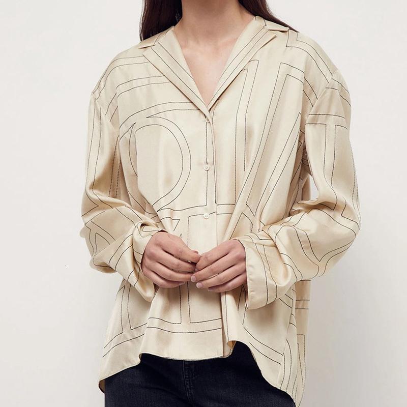 Геометрический узор женская рубашка топы с длинным рукавом поворотный воротник Wild Lady Blouse