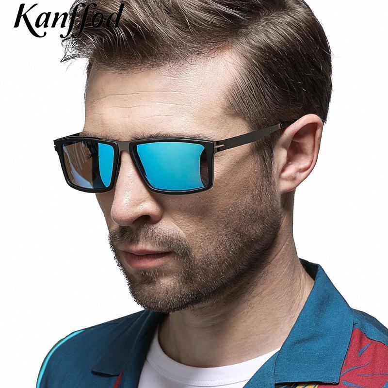 Güneş Gözlüğü Kanffod 2021 erkek Polarize Klasik Kare Erkek Kadın Sürüş Balıkçılık Gözlük UV400 Mavi Zonnebril