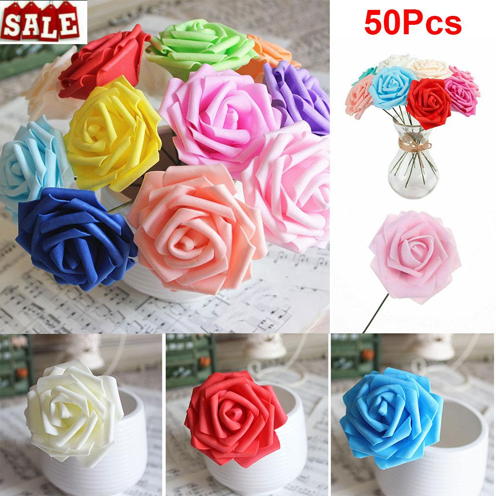 50PCS 7CM Artificial Flowers With Stem Foam Rose Fake Flower Wedding Party Bouquet Festive & Partys Supplies