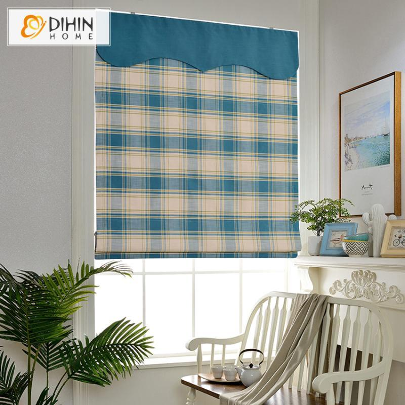 Blinds Modern Striped Blue Roman With Valance Window Treatment Roller Blind Curtains