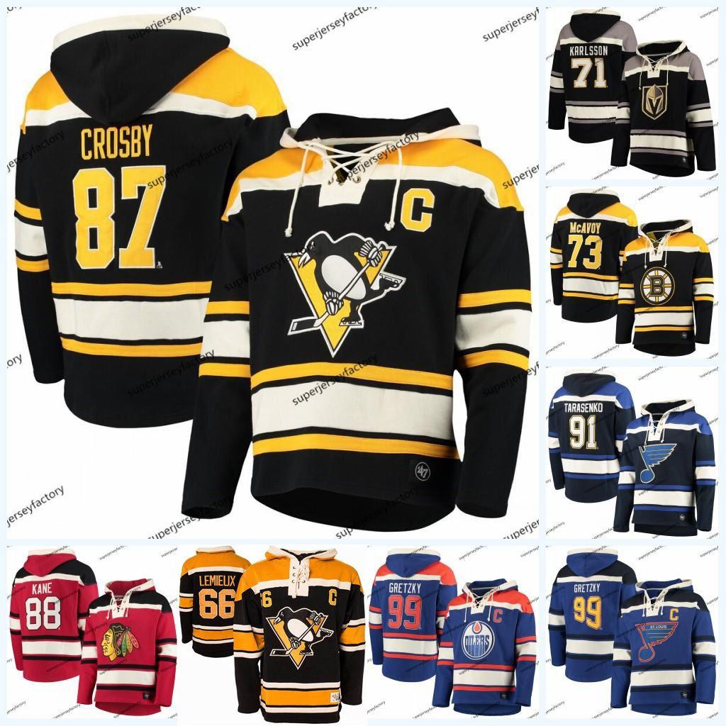 87 Sidney Crosby Hoodie Jersey Mario Lemieux William Karlsson Charlie McAVoy Patrick Kane John Tavares Vladimir Tarasenko Wayne Gretzky