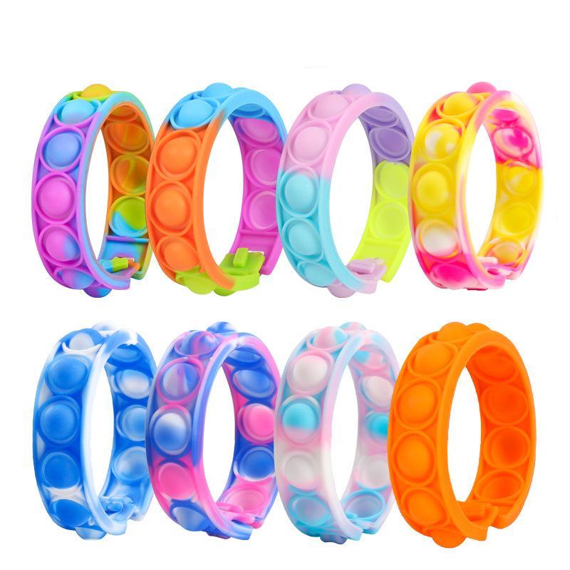 Stock Giocattoli del braccialetto del Braccialetto del Braccialetto Giocattoli del rainbow Bubble Spinge It AntiTistress Giocattolo Adulto Bambini sensoriali per alleviare il braccialetto autistico