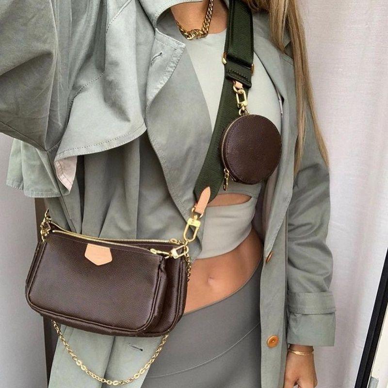 최고 품질의 체인 뜨거운 pochette 3 피스 지갑 럭셔리 디자이너 가방 크로스 바디 어깨 2021 SS M44840 레이디 쇼핑 핸드백 여성 편지 인기 토트 트리오 지갑