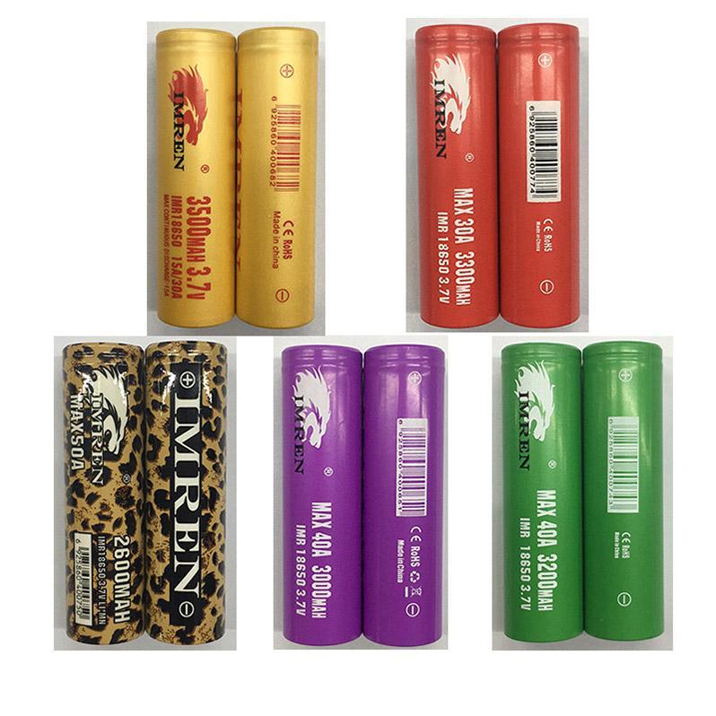IMR 18650 Bateria Gold Verde Vermelho Vermelho Leopardo Roxo 3000mAh 3200mAh 3300mAh 3500mAh 3.7V 40A 50A Alta Dreno Recarregável Lithium Vape Mod Baterias