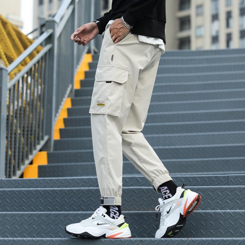 Kargo Erkekler Pantolon Hip Hop Streetwear Jogger Pantolon Erkek Ayak Bileği-Uzunluk Slim Fit İş Kalem Sweatpants Erkekler