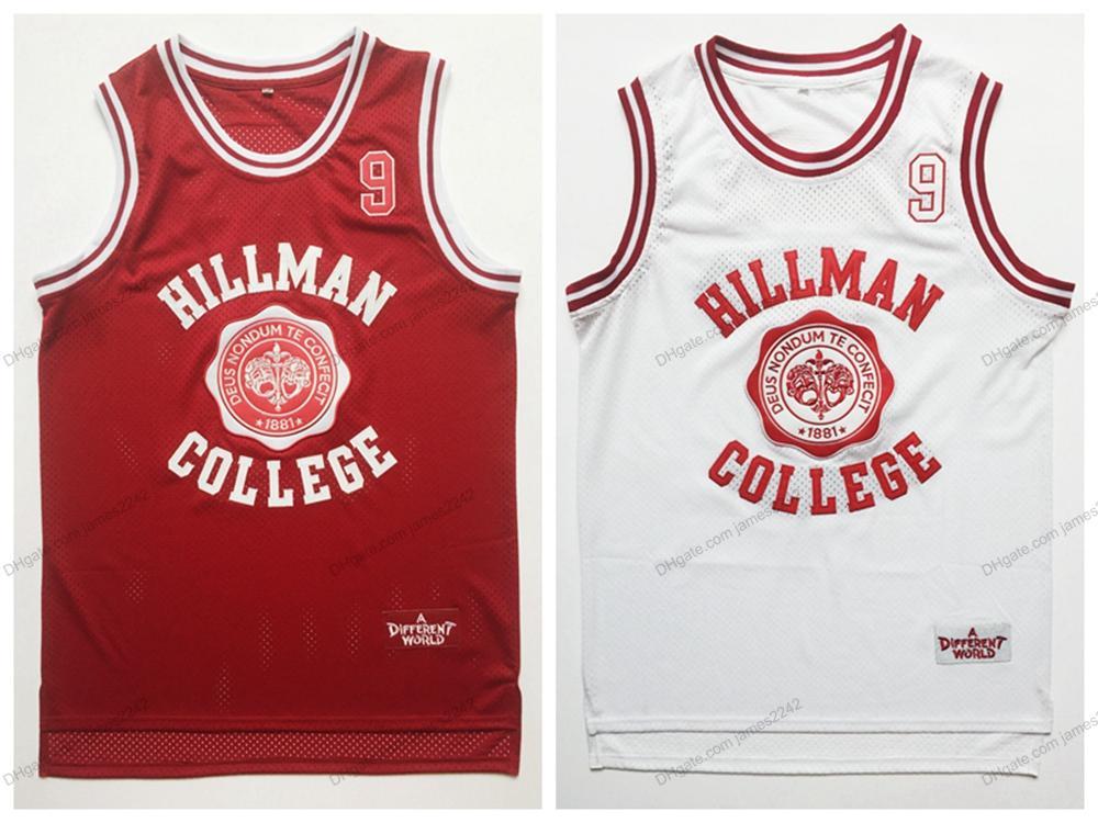 Expédier de l'US Wayne 9 Hillman College Theatre Basketball Jersey Tous cousus pour hommes Movie Jerseys Blanc Taille rouge S-3XL Top Qualité